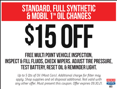 $15 off select oil changes
